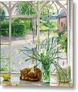 Irises And Sleeping Cat Metal Print by Timothy Easton