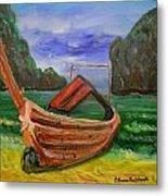 Island Canoe Metal Print by Louise Burkhardt