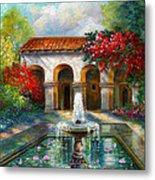 Italian Abbey Garden Scene With Fountain Metal Print by Regina Femrite