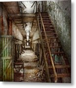 Jail - Eastern State Penitentiary - Down A Lonely Corridor Metal Print by Mike Savad