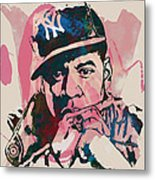 Jay-z Stylised Etching Pop Art Poster Metal Print by Kim Wang