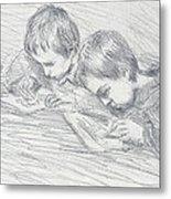 Jean Pierre Hoschede And Michel Monet Metal Print by Claude Monet