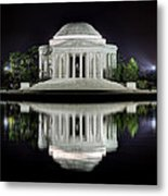 Jefferson Memorial - Night Reflection Metal Print by Metro DC Photography