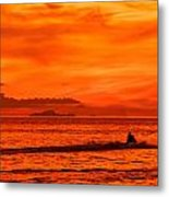 Jetski Ride Into The Sunset Metal Print by Colin Utz