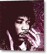 Jimi Hendrix Purple Haze Red Metal Print by Tony Rubino