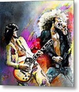 Jimmy Page And Robert Plant Led Zeppelin Metal Print by Miki De Goodaboom