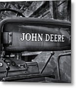 John Deere Tractor Bw Metal Print by Susan Candelario