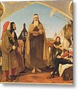 John Wycliffe Reading His Translation Of The Bible To John Of Gaunt Metal Print by Philip Ralley