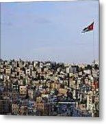 Jordanian Flag Flying Over The City Of Amman Jordan Metal Print by Robert Preston