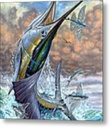 Jumping Sailfish And Flying Fishes Metal Print by Terry Fox