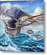 Jumping Sailfish And Small Fish Metal Print by Terry Fox