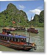 Junk Boats In Halong Bay Metal Print by Sami Sarkis