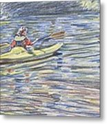Kayak In The Rapids Metal Print by Horacio Prada