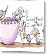 Kitchen Art Cooking Mice Metal Print by Christy Beckwith