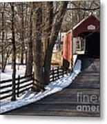Knecht's Bridge On Snowy Day - Bucks County Metal Print by Anna Lisa Yoder