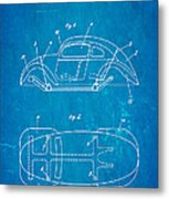 Komenda Vw Beetle Official German Design Patent Art Blueprint Metal Print by Ian Monk