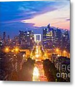 La Defense And Champs Elysees At Sunset In Paris France Metal Print by Michal Bednarek