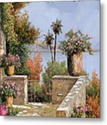 La Terrazza Un Vaso Due Palme Metal Print by Guido Borelli