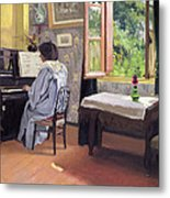 Lady At The Piano Metal Print by Felix Edouard Vallotton