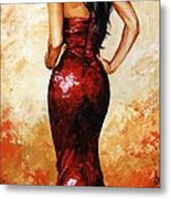 Lady In Red 035 Metal Print by Emerico Imre Toth