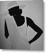 Lady In White Metal Print by Marie Halter