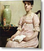 Lady Reading Metal Print by Fanny Caille