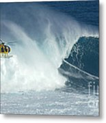 Laird Hamilton Going Left At Jaws Metal Print by Bob Christopher