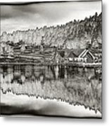 Lake House Reflection Metal Print by Ron White