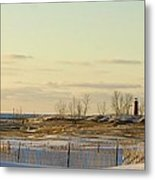 Lake Michigan Lighthouse Muskegon Michigan In Winter Metal Print by Rosemarie E Seppala