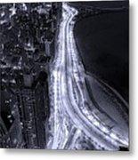 Lake Shore Drive Aerial  B And  W Metal Print by Steve Gadomski