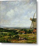 Landscape With Figures By A Windmill Metal Print by Frederick Waters Watts