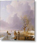 Landscape With Frozen Canal Metal Print by Remigius van Haanen