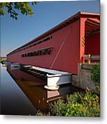 Langley Covered Bridge Michigan Metal Print by Steve Gadomski