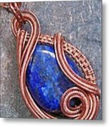 Lapis Lazuli And Copper Sculpted Coil Pendant Metal Print by Heather Jordan
