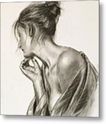 Laura In Deep Thought Metal Print by John Silver