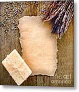 Lavender Flowers And Soap Metal Print by Olivier Le Queinec