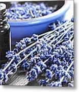 Lavender Herb And Essential Oil Metal Print by Elena Elisseeva