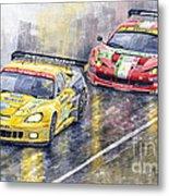 Le Mans 2011 Gte Pro Chevrolette Corvette C6r Vs Ferrari 458 Italia Metal Print by Yuriy  Shevchuk