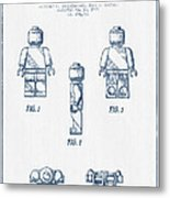 Lego Toy Figure Patent - Blue Ink Metal Print by Aged Pixel