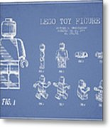 Lego Toy Figure Patent Drawing From 1979 - Light Blue Metal Print by Aged Pixel