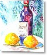 Lemons And Wine And A Little Sunshine Metal Print by Carol Wisniewski