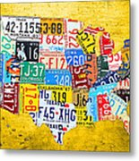 License Plate Art Map Of The United States On Yellow Board Metal Print by Design Turnpike