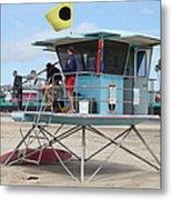 Lifeguard Shack At The Santa Cruz Beach Boardwalk California 5d23712 Metal Print by Wingsdomain Art and Photography