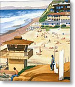 Lifeguard Station At Moonlight Beach Metal Print by Mary Helmreich