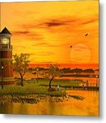 Lighthouse At Sunset Metal Print by John Junek