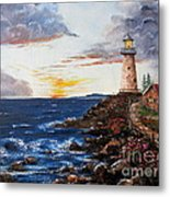 Lighthouse Road At Sunset Metal Print by Lee Piper