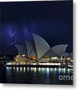 Lightning Behind The Opera House Metal Print by Kaye Menner
