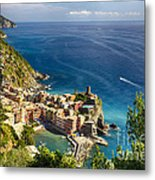 Ligurian Coast View At Vernazza Metal Print by George Oze