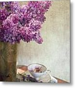 Lilacs In Vase 3 Metal Print by Rebecca Cozart