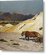 Lioness And Cubs Metal Print by Jean Leon Gerome